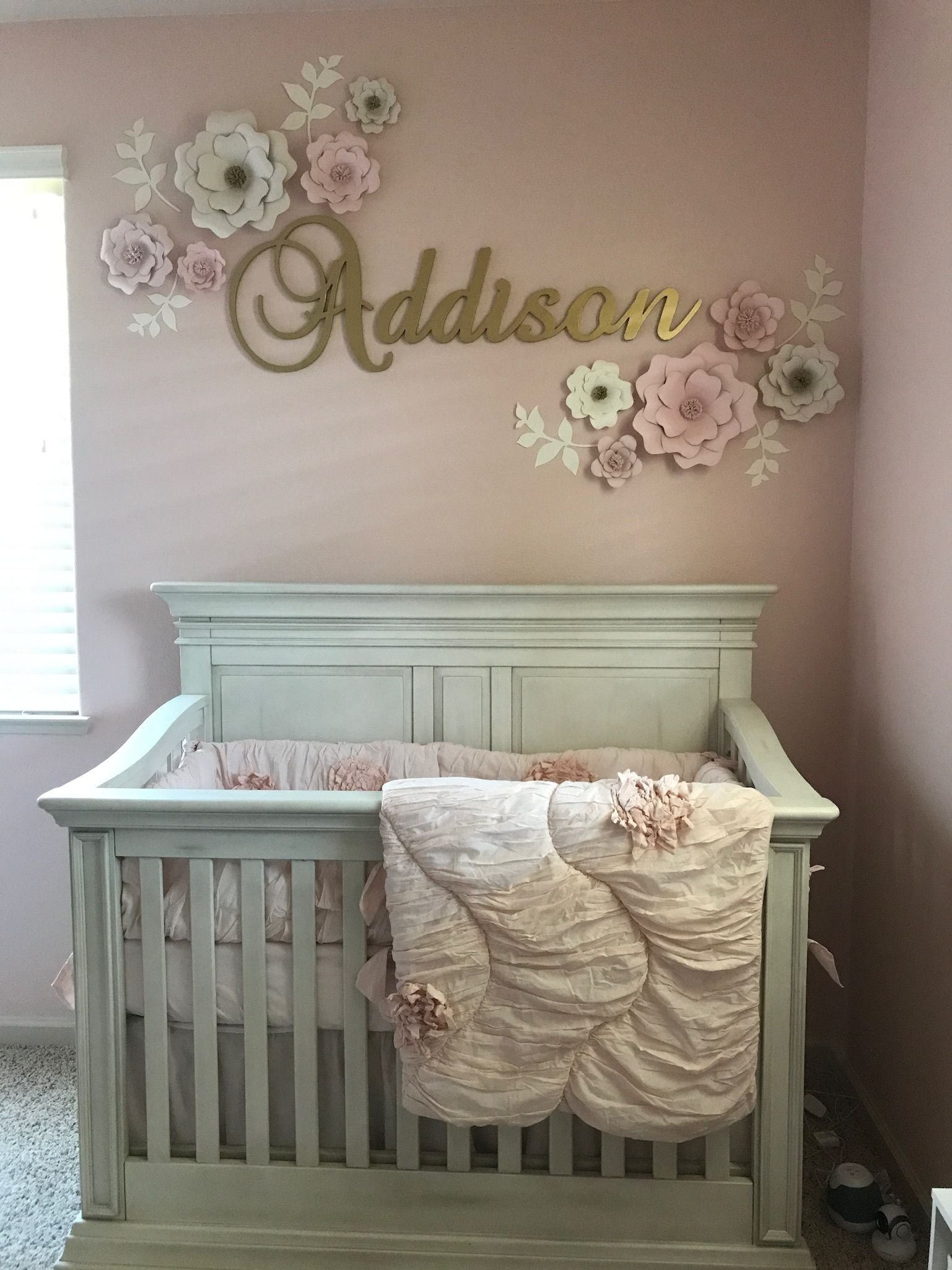 baby girl nursery with pink and gold theme https://www.facebook