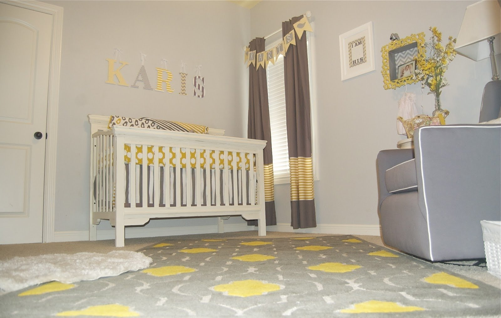 10 Fashionable Yellow And Gray Nursery Ideas baby nursery decor name sign wall decor yellow and gray baby 2020