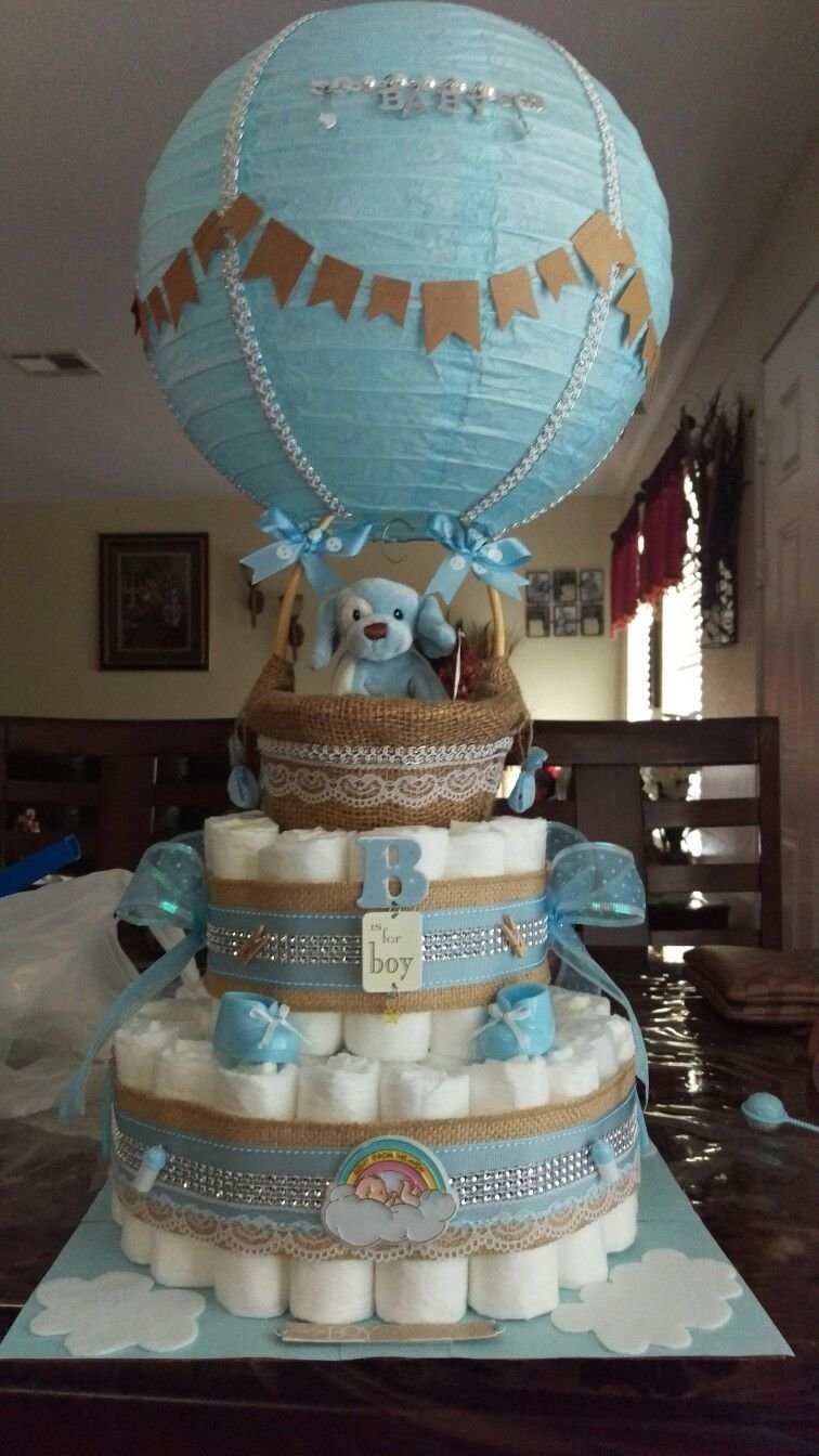 baby shower boy hot air balloon diaper cake | baby | pinterest