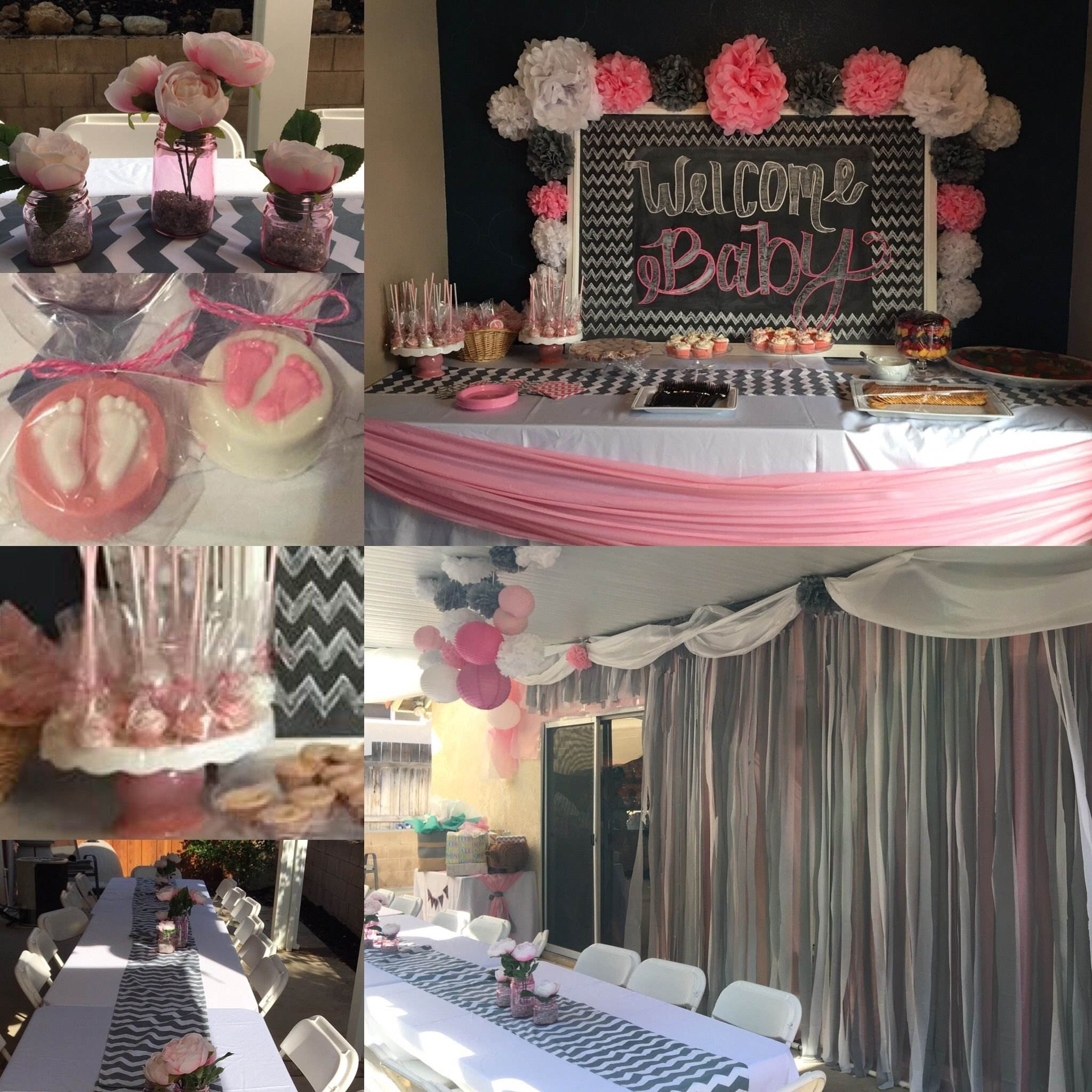 baby shower decorations grey chevron , pink and white | done
