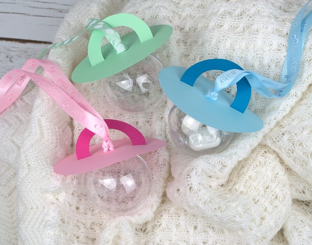 baby shower 'dummy' bauble craft idea - it's  baby shower craft
