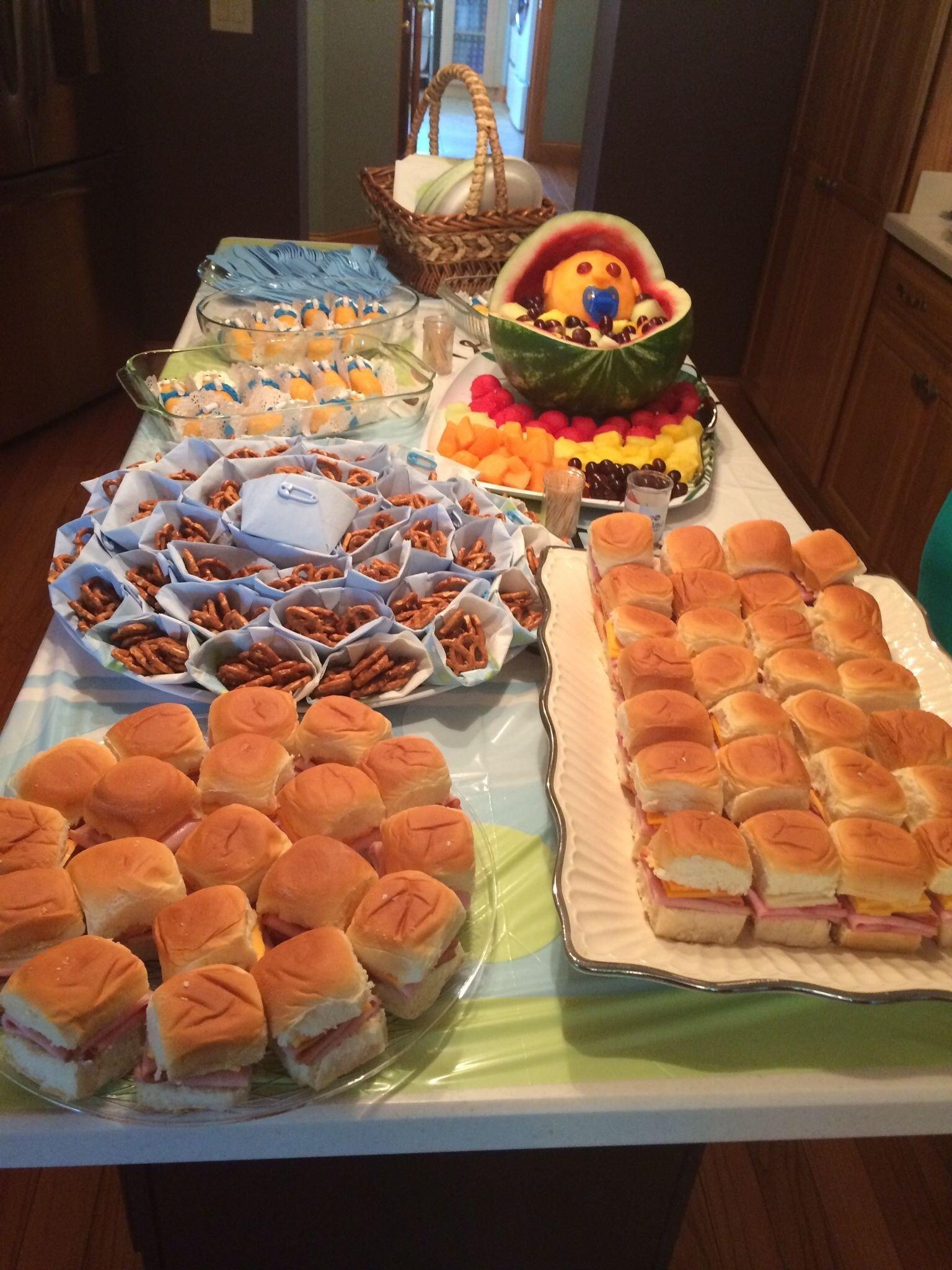 baby shower food on a budget. sandwiches on hawaiian rolls, pretzel
