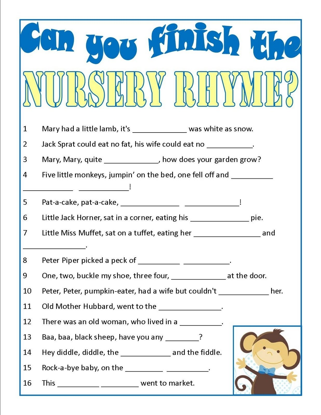 10 Stylish Words That Rhyme With Idea baby shower game can you finish the nursery rhyme super easy 2021