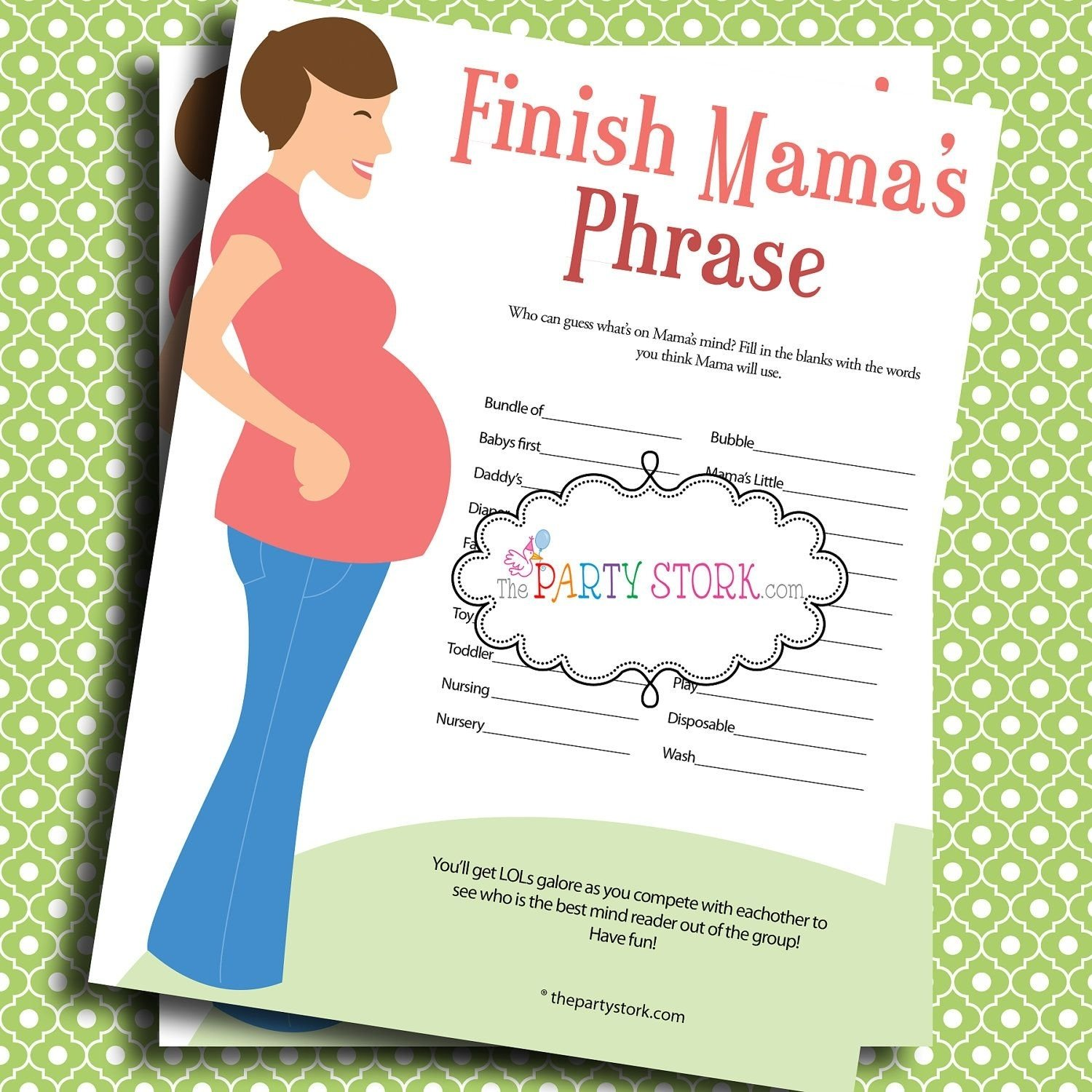 baby shower games, finish mama's (mommy's) phrase, printable, many