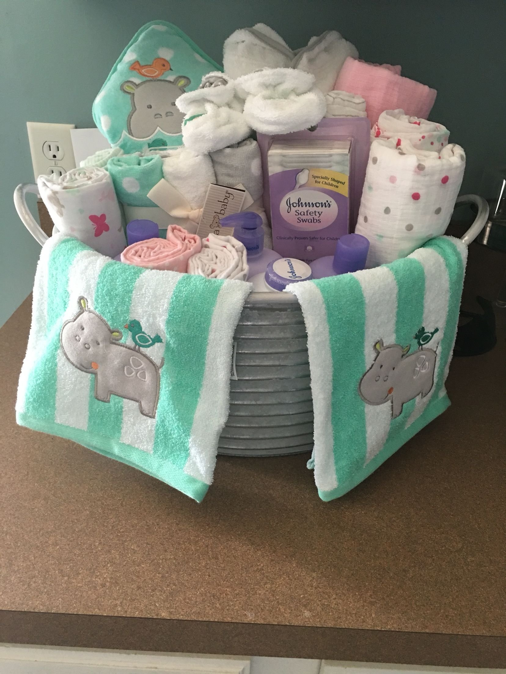10 Wonderful Unique Baby Shower Gift Ideas baby shower present i made galvanized bucket with baby bath items 2021