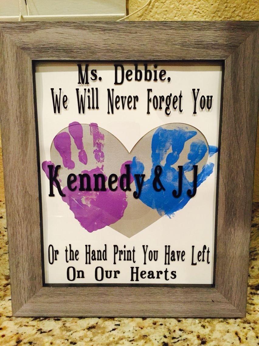 10 Wonderful Gift Ideas For Daycare Provider babysitter daycare worker gift vinyl handprint art gift ideas 2020