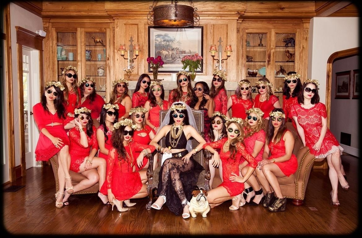10 Stunning Bachelor Party Ideas Las Vegas bachelorette theme ideas royal red lace dress and gold floral crowns 2020
