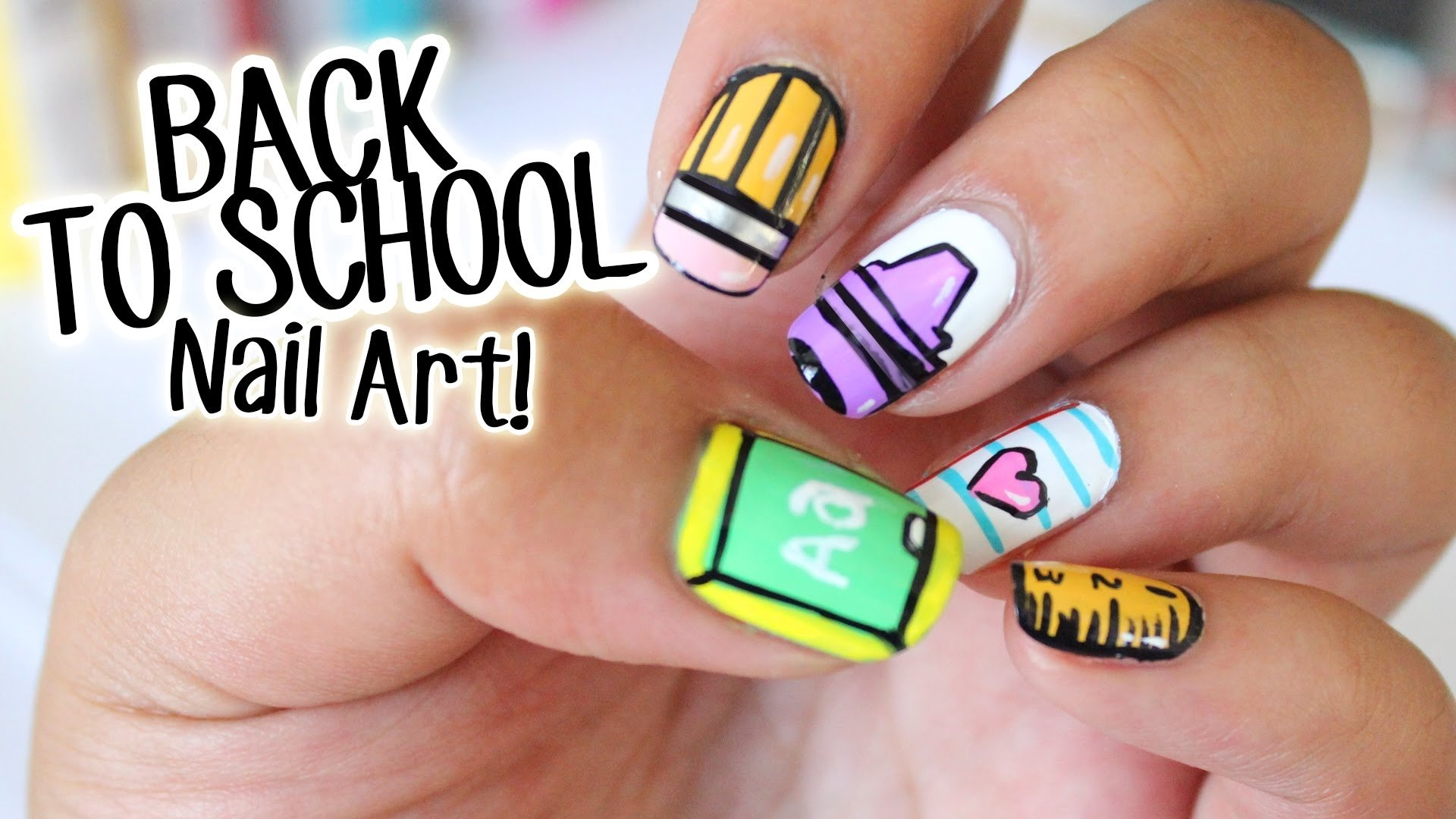 10 Fabulous Back To School Nail Ideas back to school nail art e299a5 5 easy designs part 1 youtube 2020