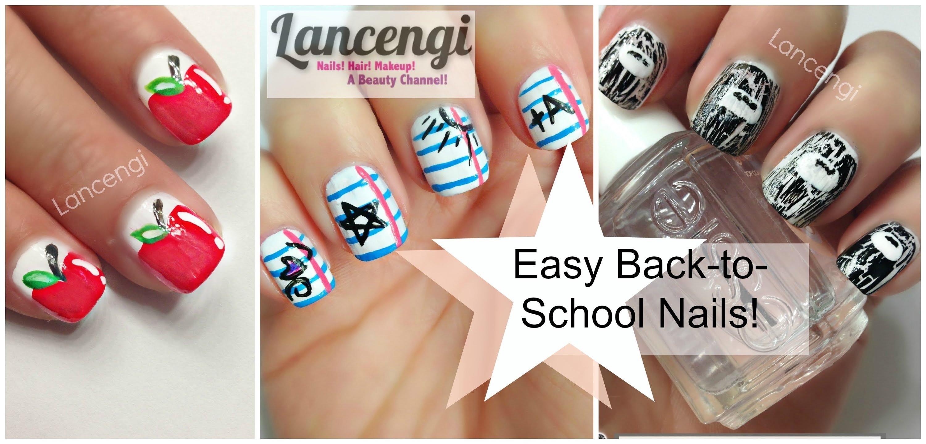 10 Fabulous Back To School Nail Ideas back to school nails three easy designs youtube 2020