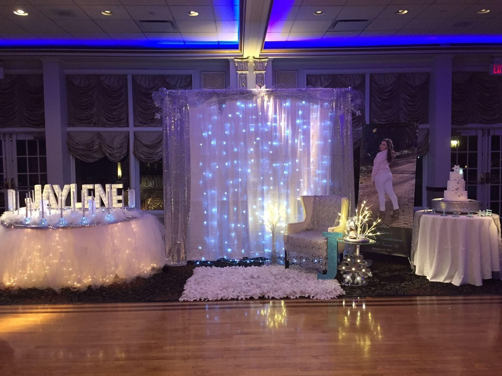 10 Best Sweet 16 Theme Ideas List backdrop for a princess winter wonderland sweet 16 winter 2020