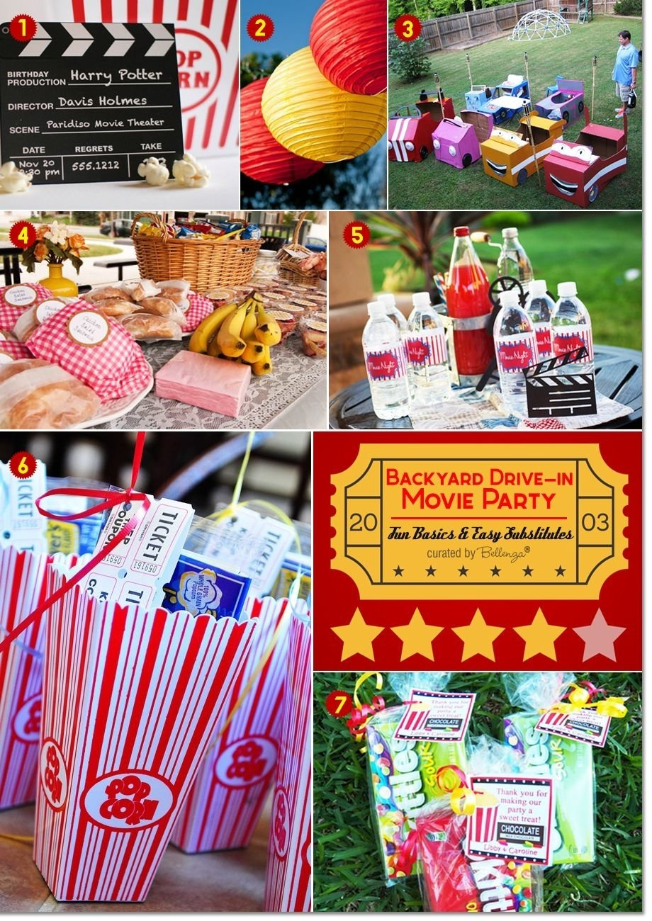 10 Unique Movie Theater Birthday Party Ideas backyard drive in movie party ideas picnic foods movie party and 2020