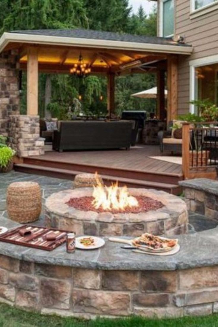 10 Stylish Deck Ideas With Fire Pit backyard fire pit ideas and designs for your yard deck or patio 1 2021