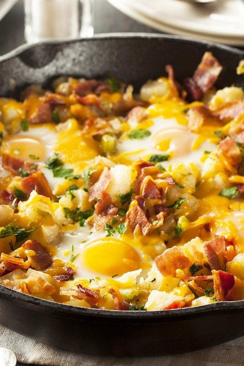 10 Fashionable Breakfast Ideas With Eggs And Bacon bacon egg and potato breakfast skillet kitchme 2020