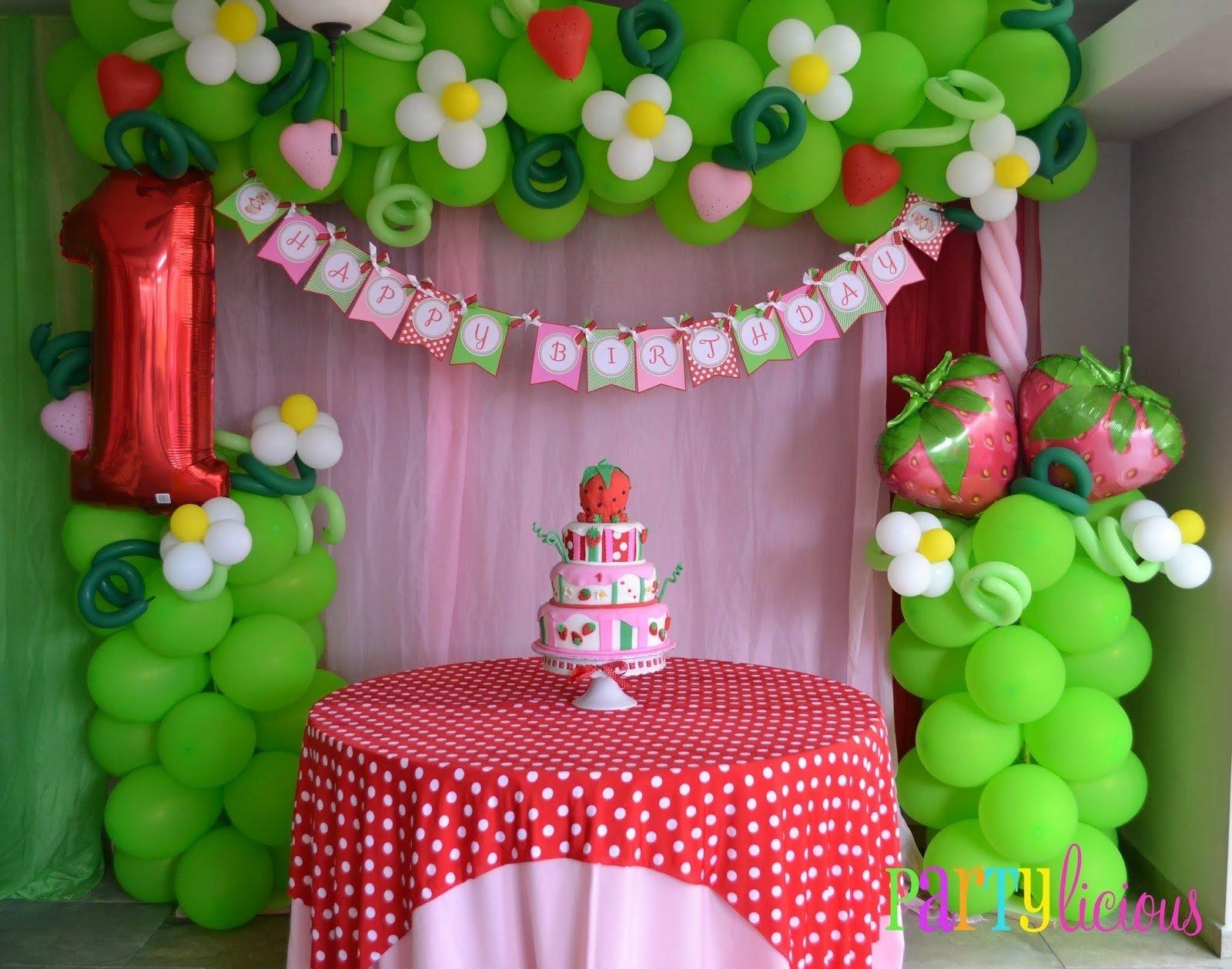 balloon idea, minus the #1 {vintage strawberry shortcake birthday