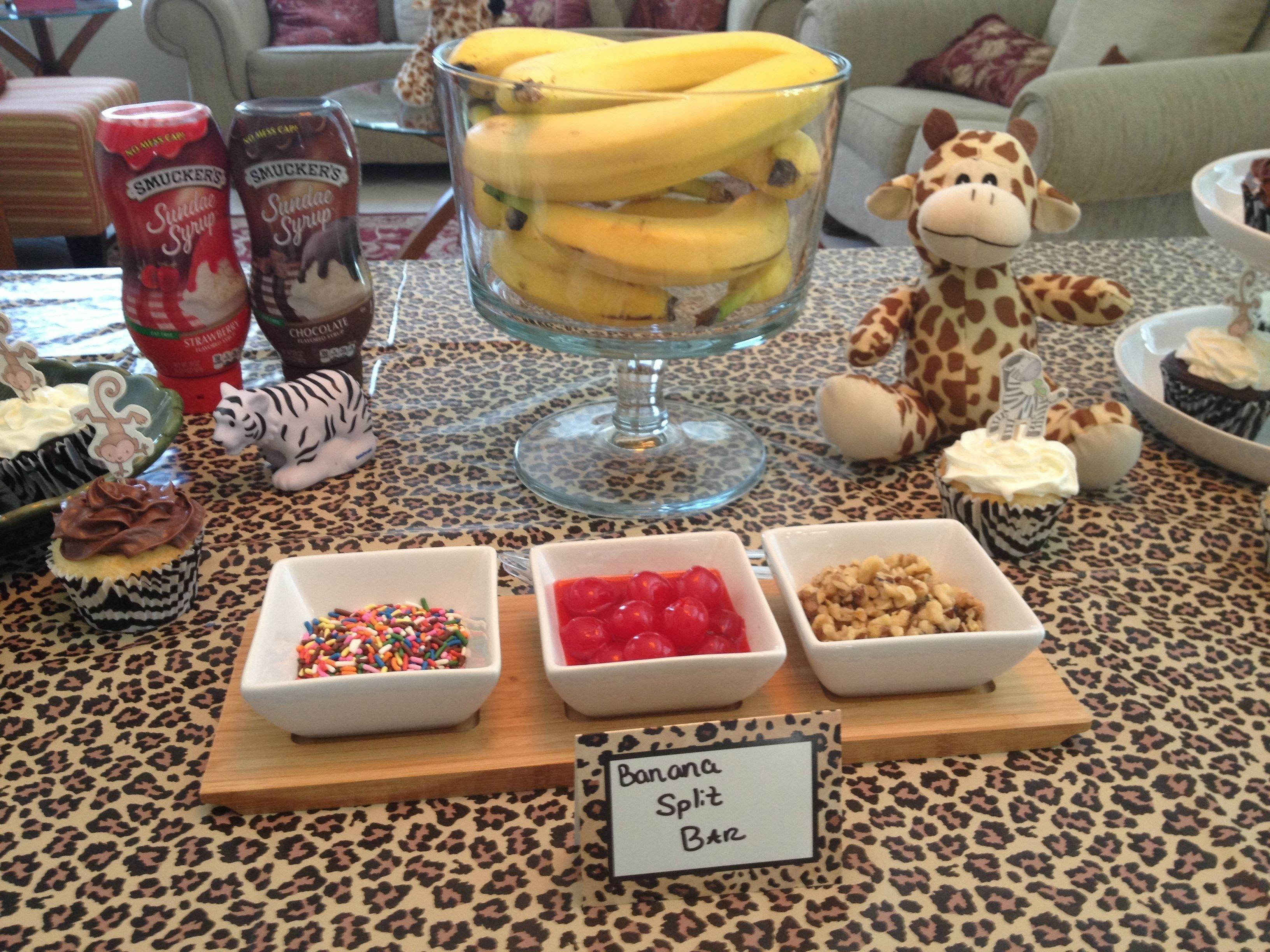 10 Best Jungle Baby Shower Food Ideas banana split bar at jungle baby shower my pinterest projects 2020