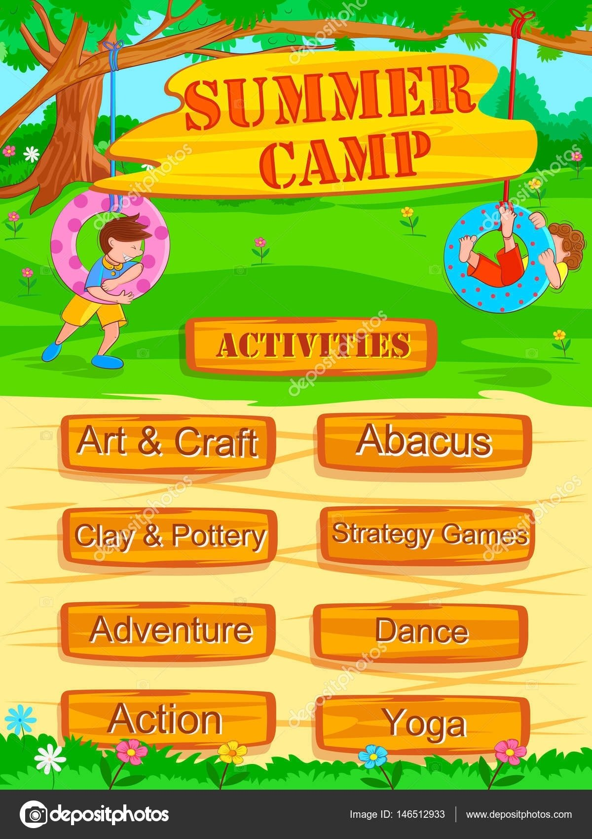 10 Cute Summer Camp Ideas For Kids banner poster design template for kids summer camp activities