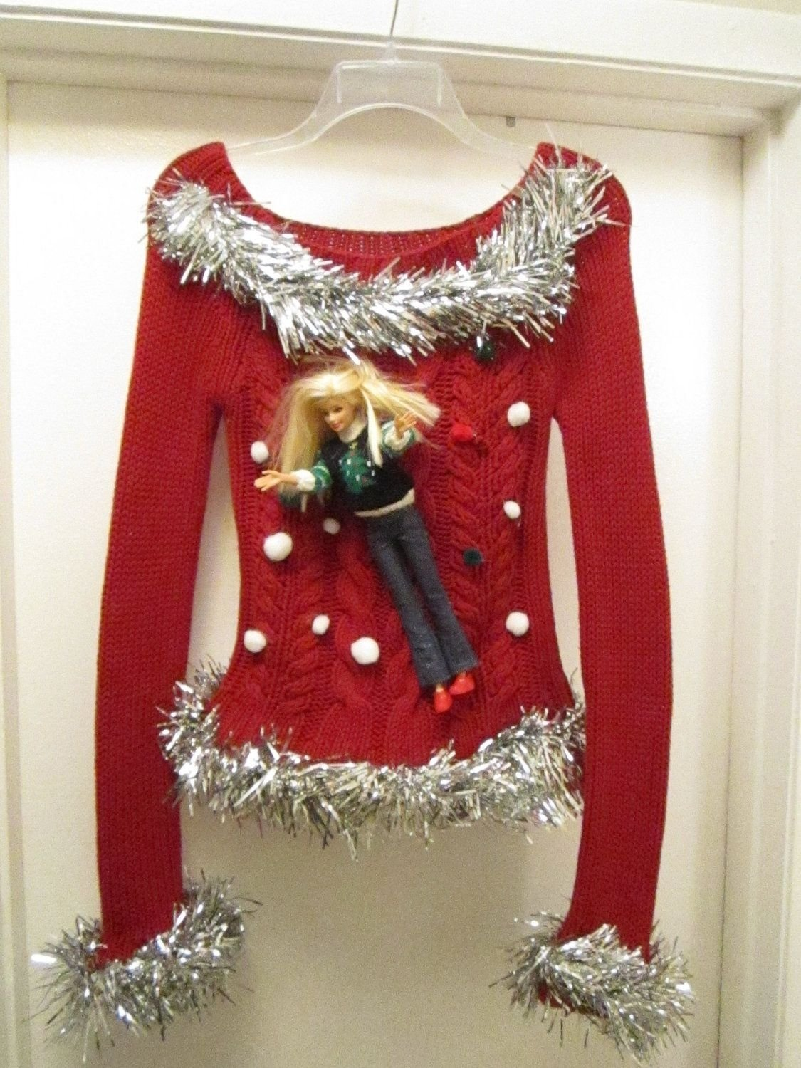 10 Fantastic Do It Yourself Ugly Christmas Sweater Ideas barbie ugly christmas sweater size xsmall ho ho ho toms of laughs 2020