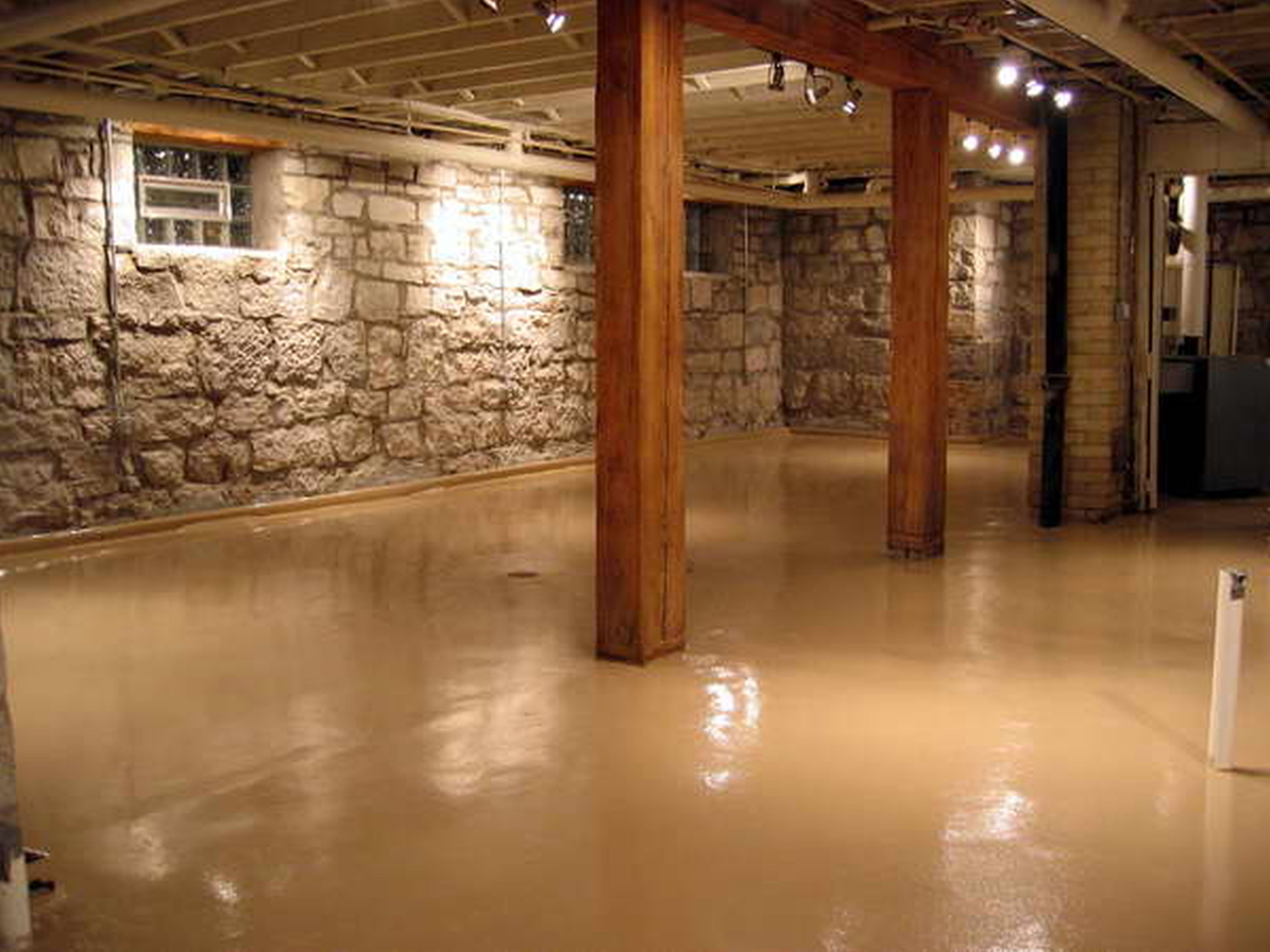 basement stone walls | decorative basement floor with stone