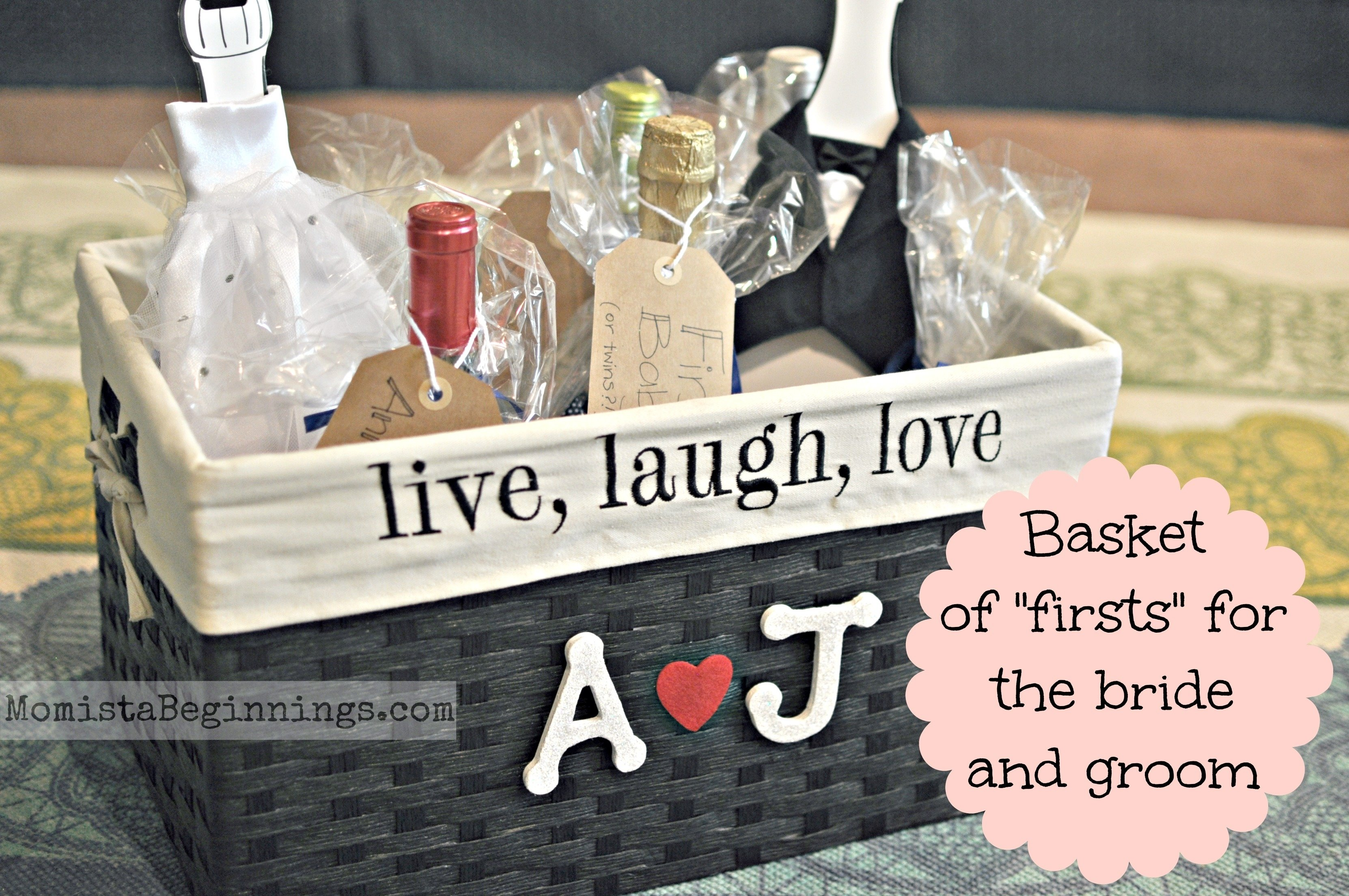 10 Most Recommended Gift Ideas For Bride To Be basket of firsts for the bride and groom diy momista beginnings 2021