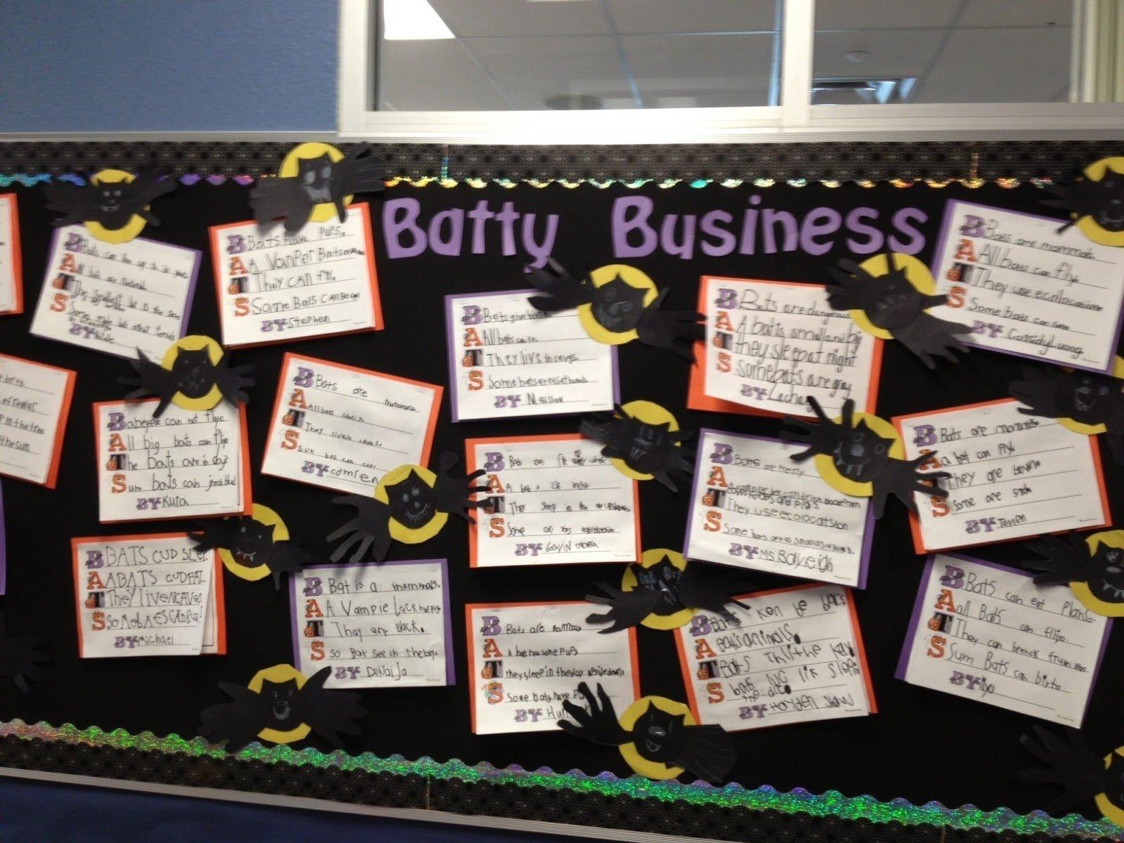 10 Fantastic Fall Halloween Bulletin Board Ideas batty business halloween bulletin board idea myclassroomideas 2020