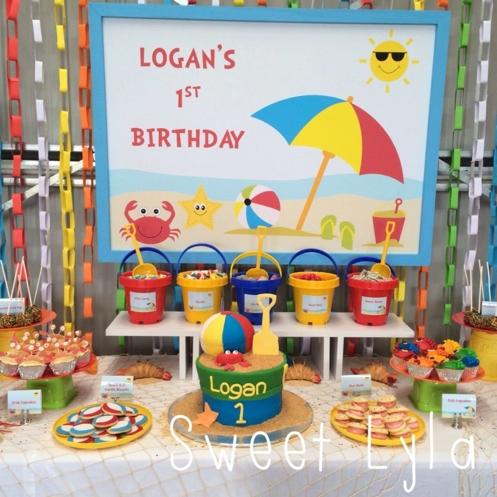 beach themed 1st birthday party. ideas for a cool indoors beach