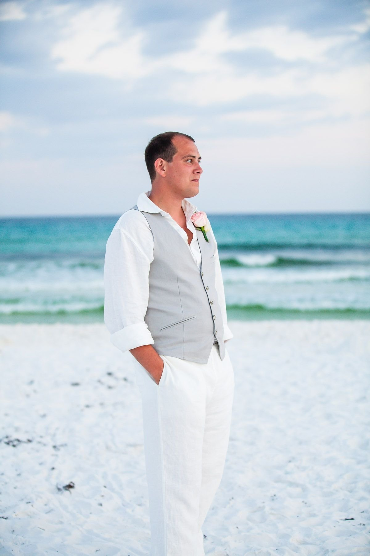 beach wedding groom's attire, destination wedding groom amy little