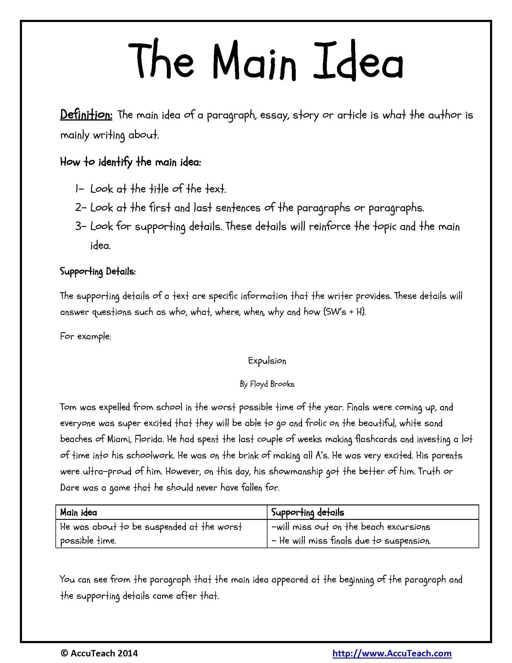 10 Fantastic Main Idea For 3Rd Grade beautiful comprehension worksheets main idea thejquery 2020