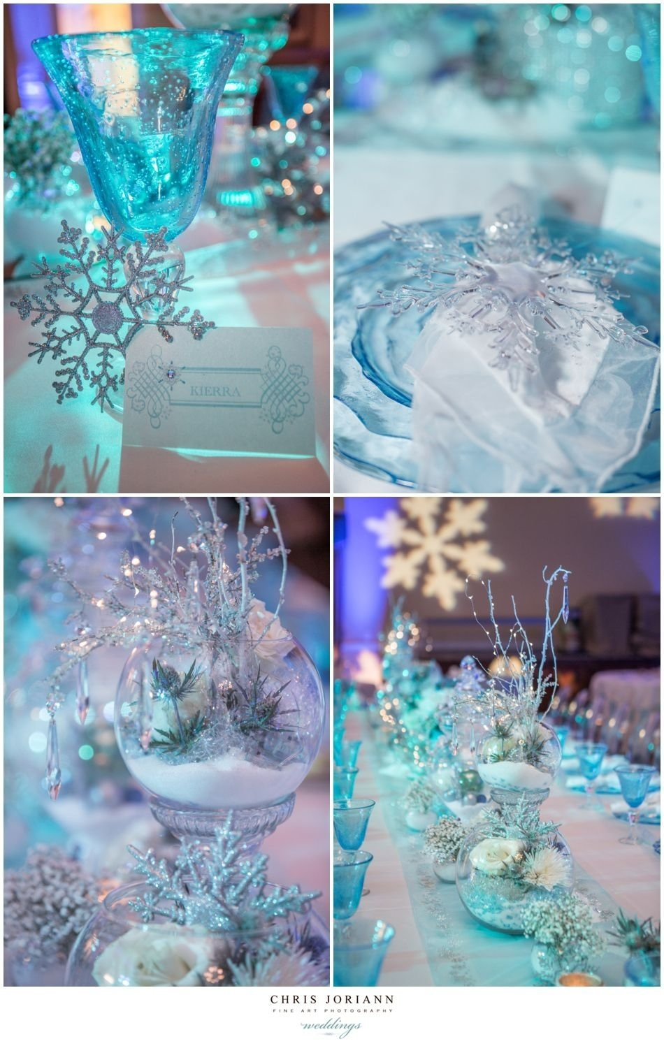 10 Cute Sweet 16 Ideas For Winter beautiful crystal sparkle snowflake table decor perfect for a 2020