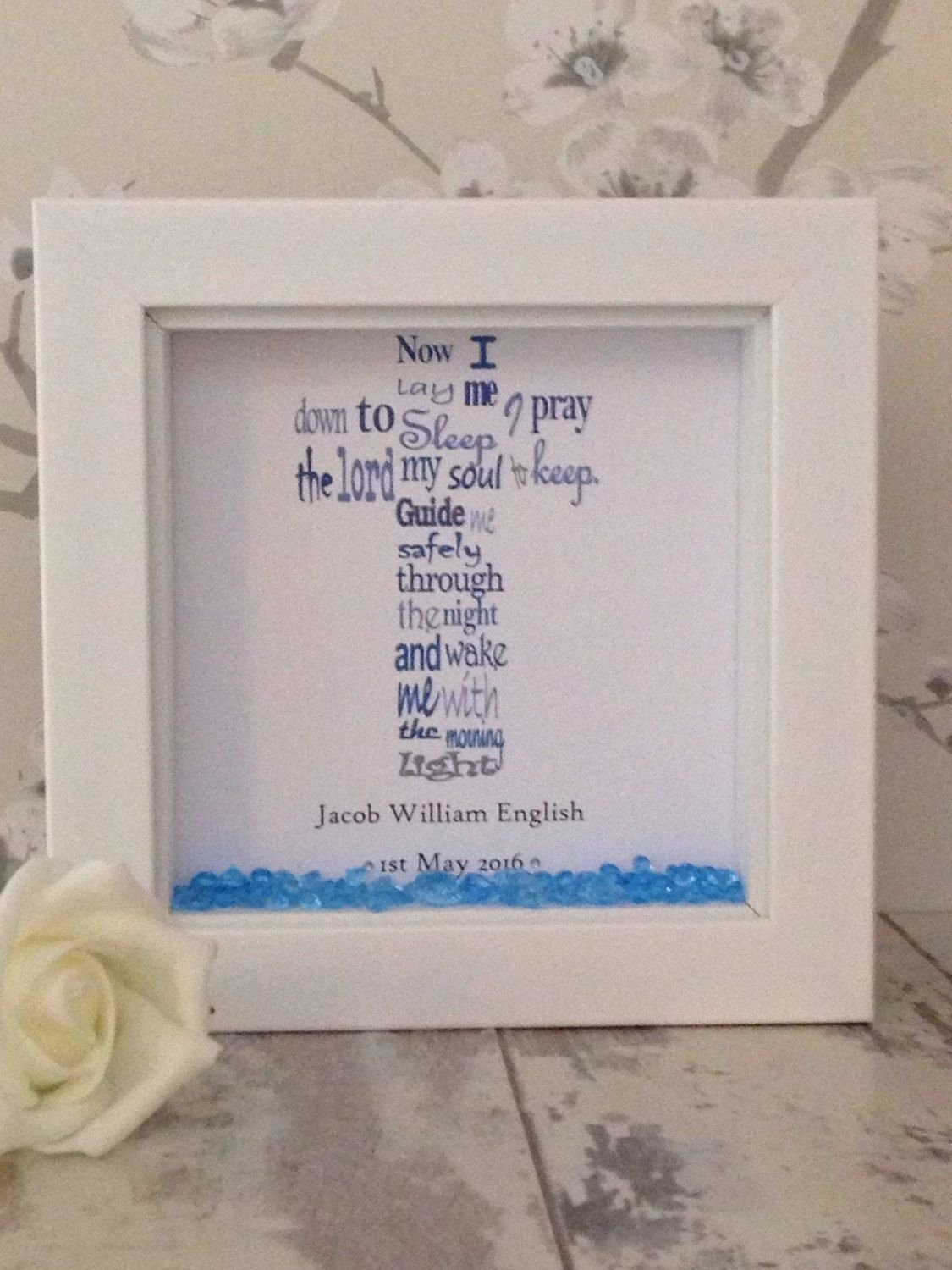 beautiful personalised christening shadow box gift frame ~ baby boy