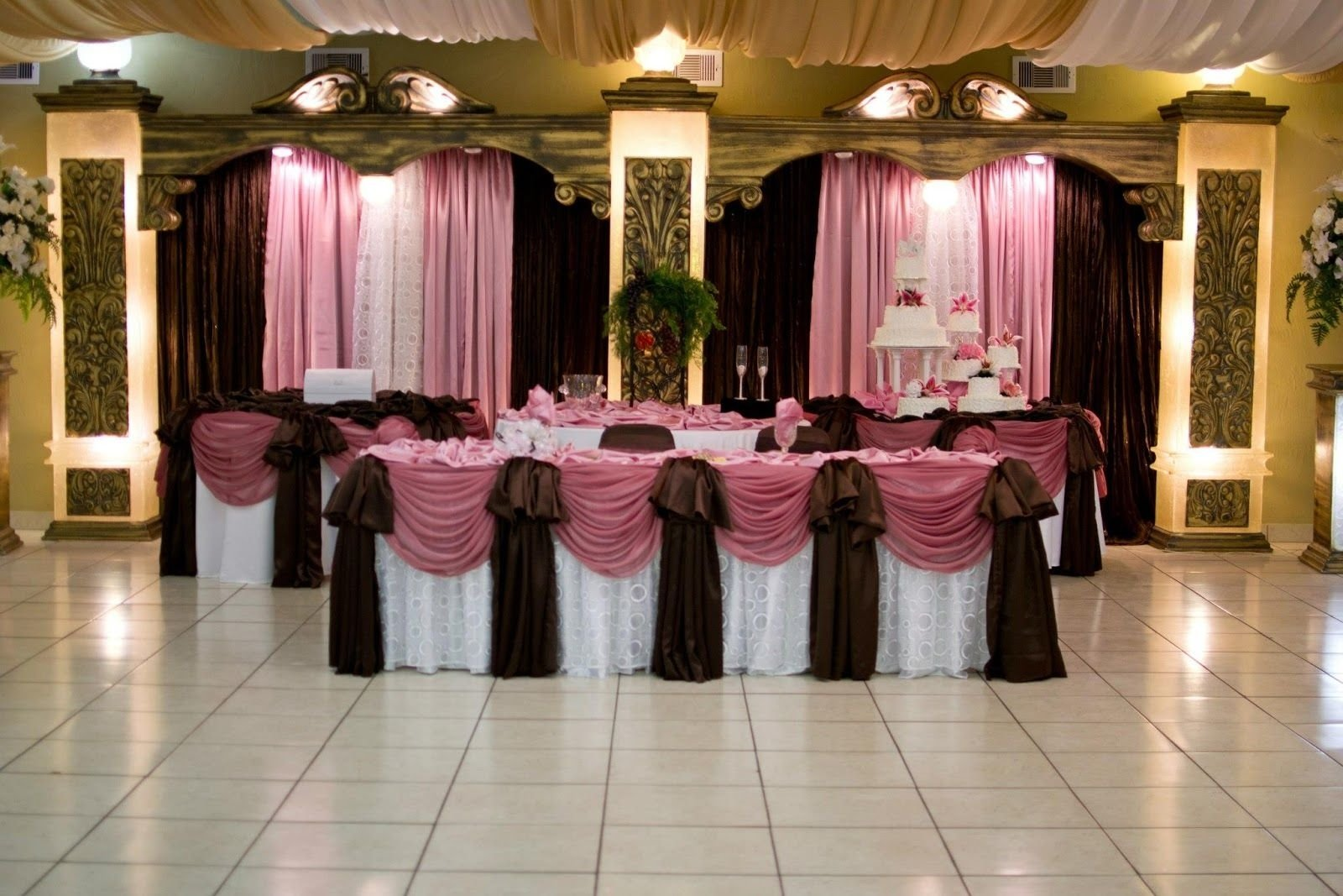 beautiful pink and brown draping #wedding #reception | pink and