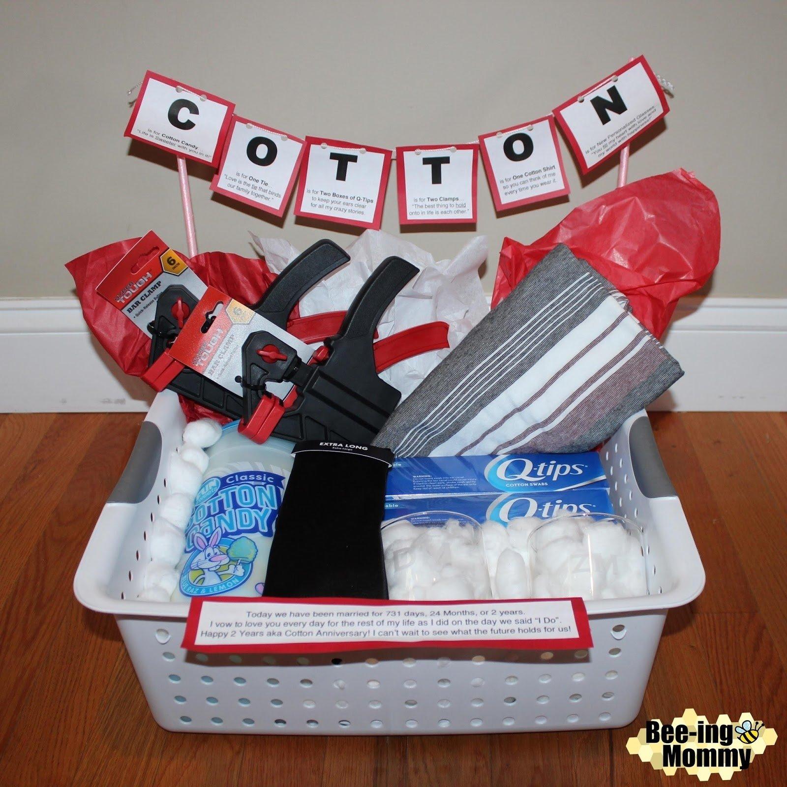 10 Elegant Cotton Anniversary Gift Ideas For Him bee ing mommy blog cotton anniversary gift basket plus several more 2020