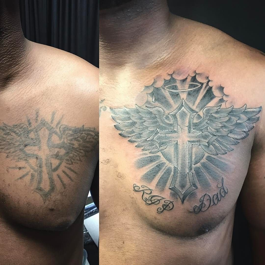 10 Fabulous Cross Tattoo Cover Up Ideas before and after chest tattoo recovery fix up or cover up cross 2021