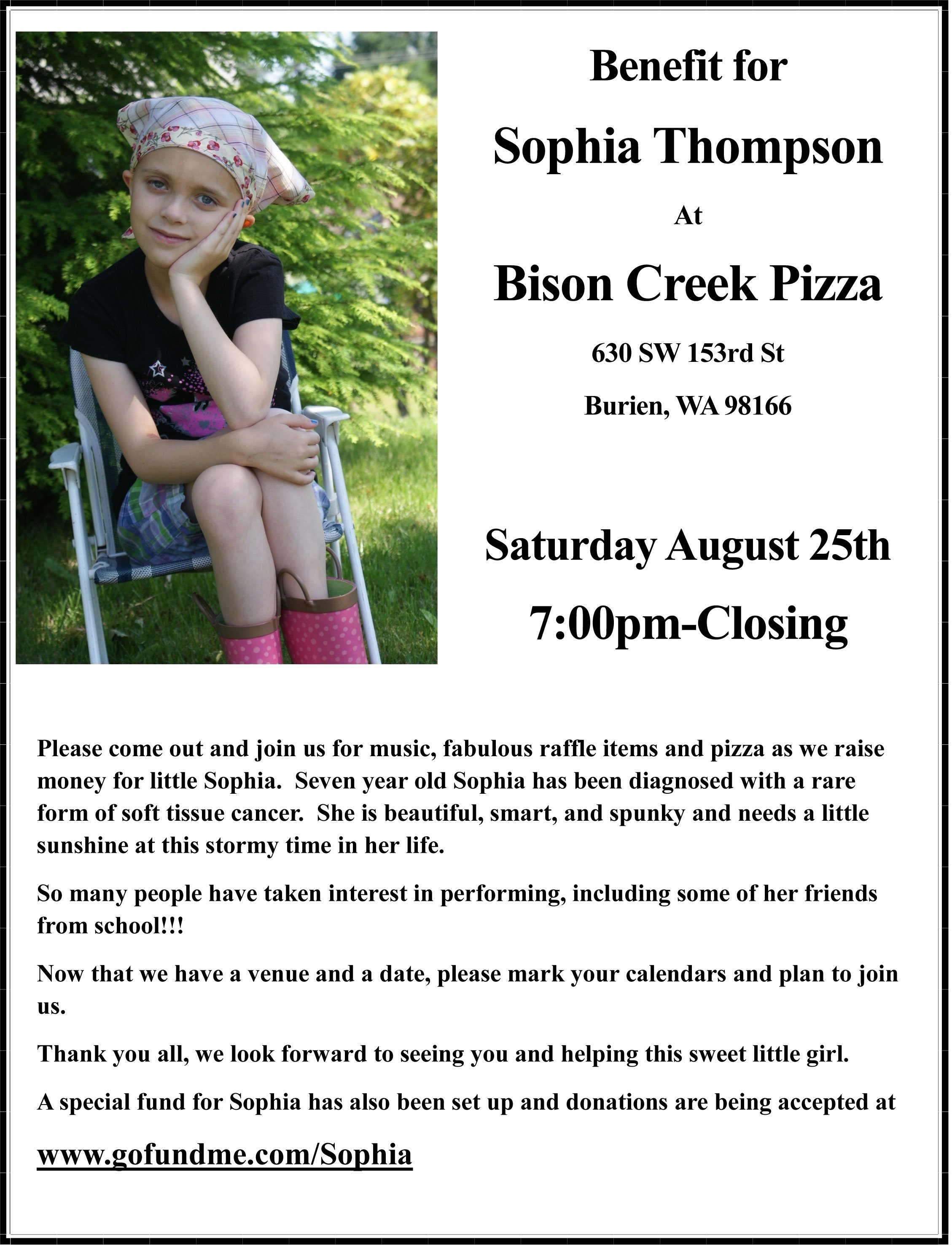 benefit saturday at bison creek for 7-year old burien girl with