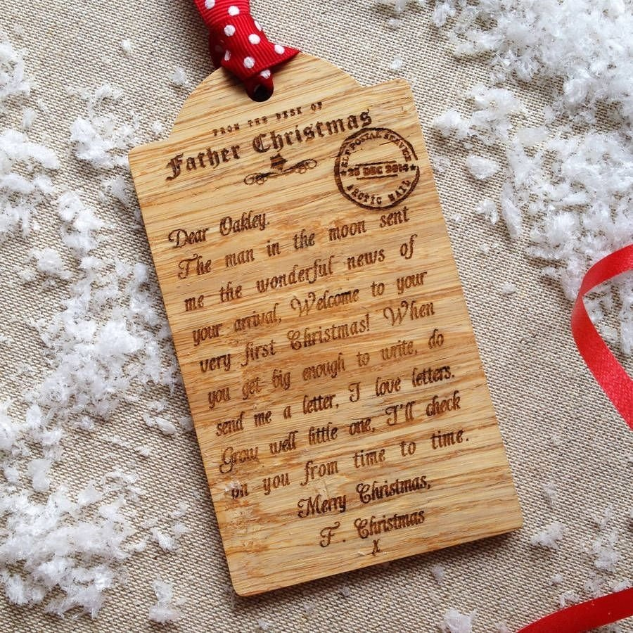 10 Ideal First Christmas Together Gift Ideas bespoke babys first christmas wooden tag decoration wooden gifts 2021