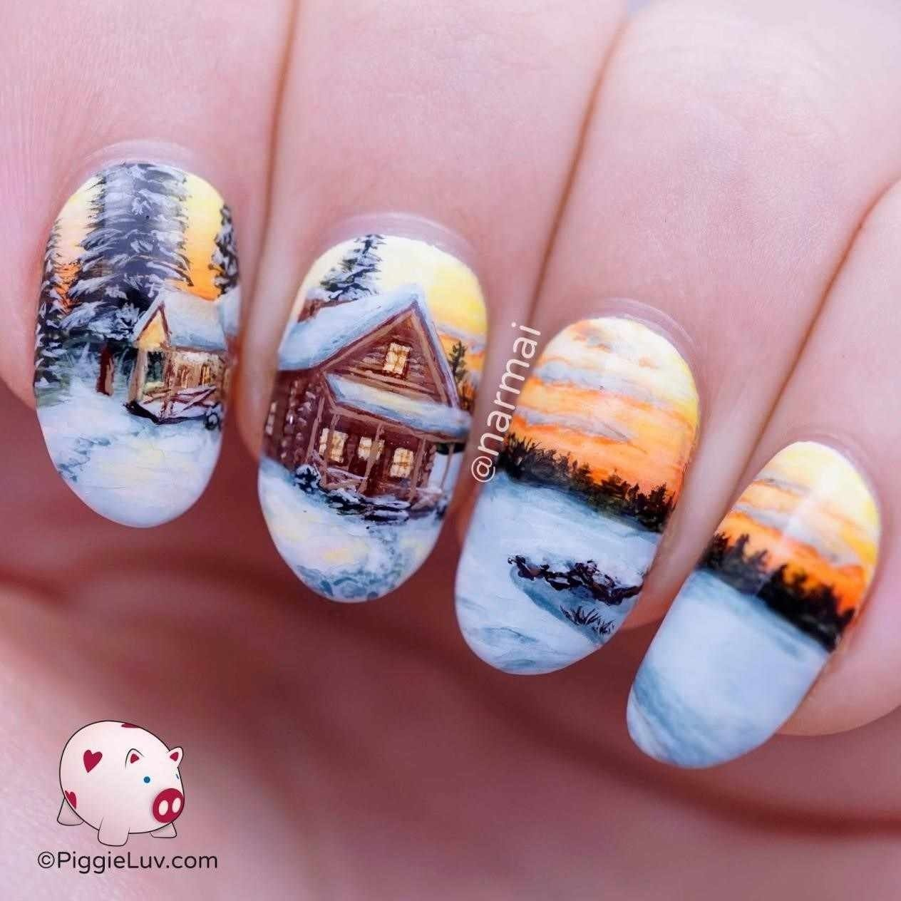 best cute nail ideas for winter acrylic sparkle french tips with pic
