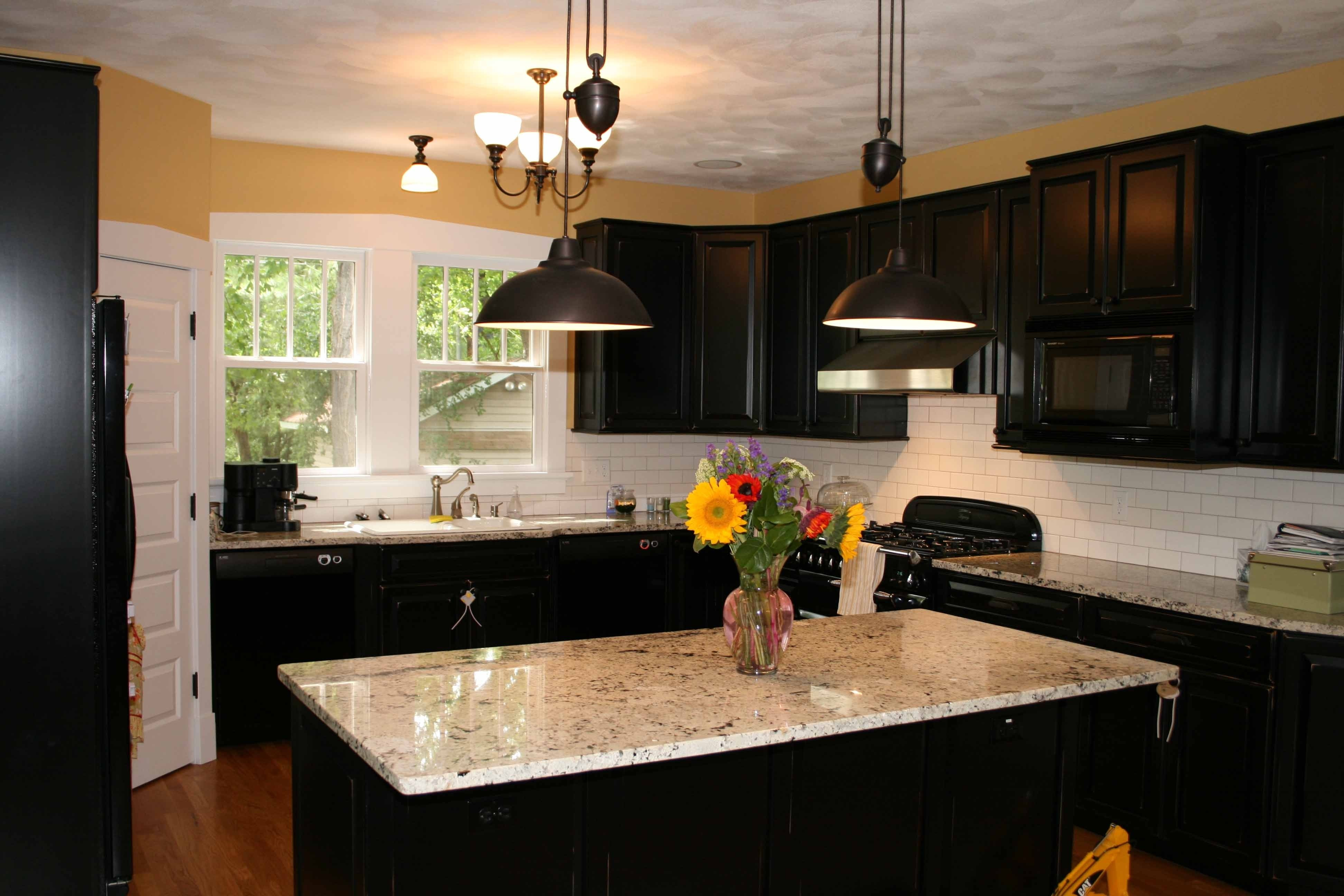 10 Pretty Kitchen Paint Ideas With Dark Cabinets best kitchen paint colors idea with round lamps and brown floor 1 2020