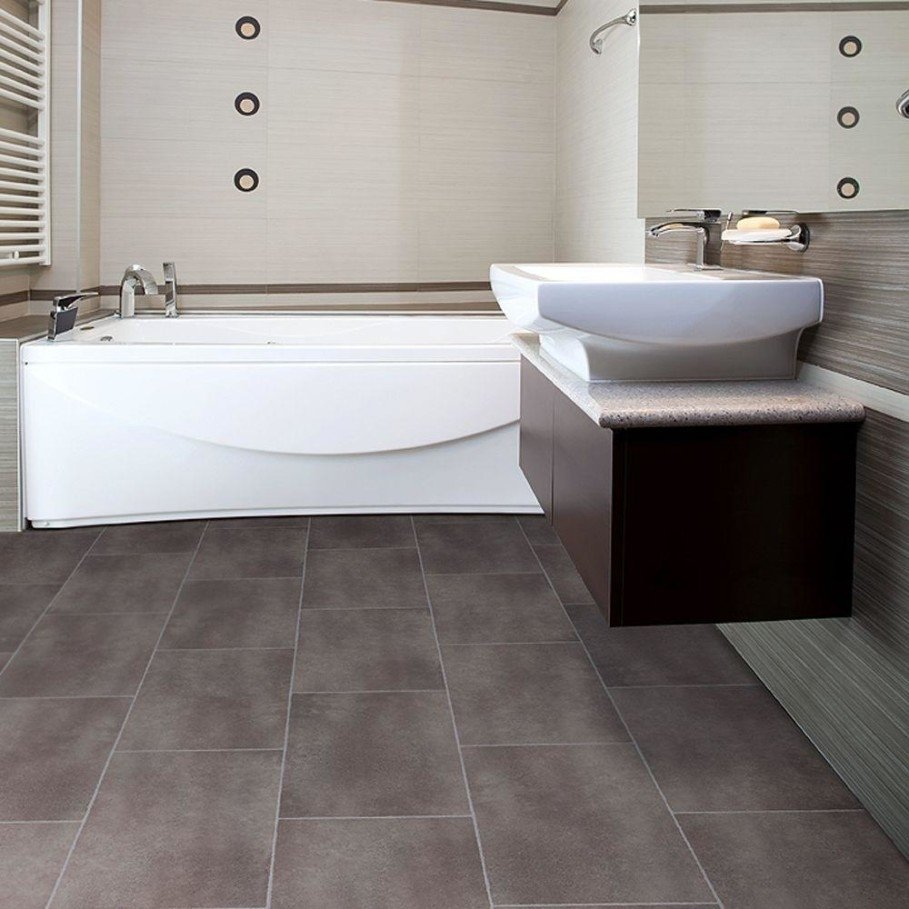 10 Great Small Bathroom Floor Tile Ideas big grey tiles flooring for small bathroom with awesome white