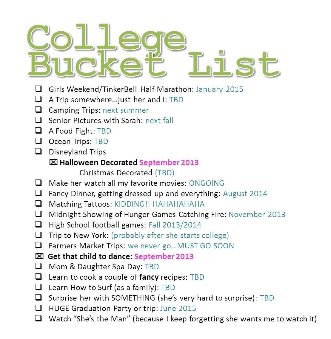 bingo: the college bucket list like the idea would use different