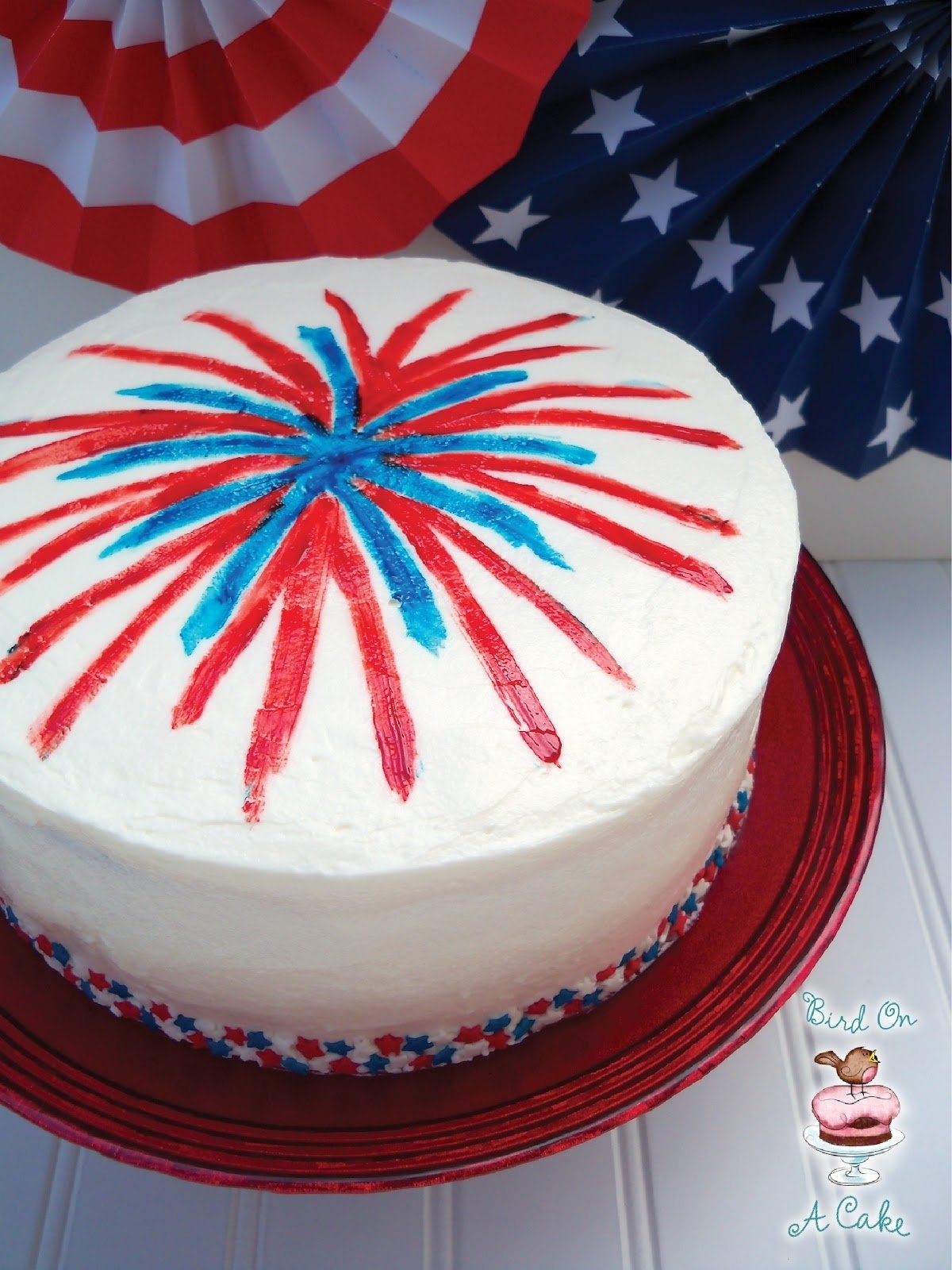 10 Stylish 4Th Of July Baking Ideas bird on a cake 4th of july fireworks cake