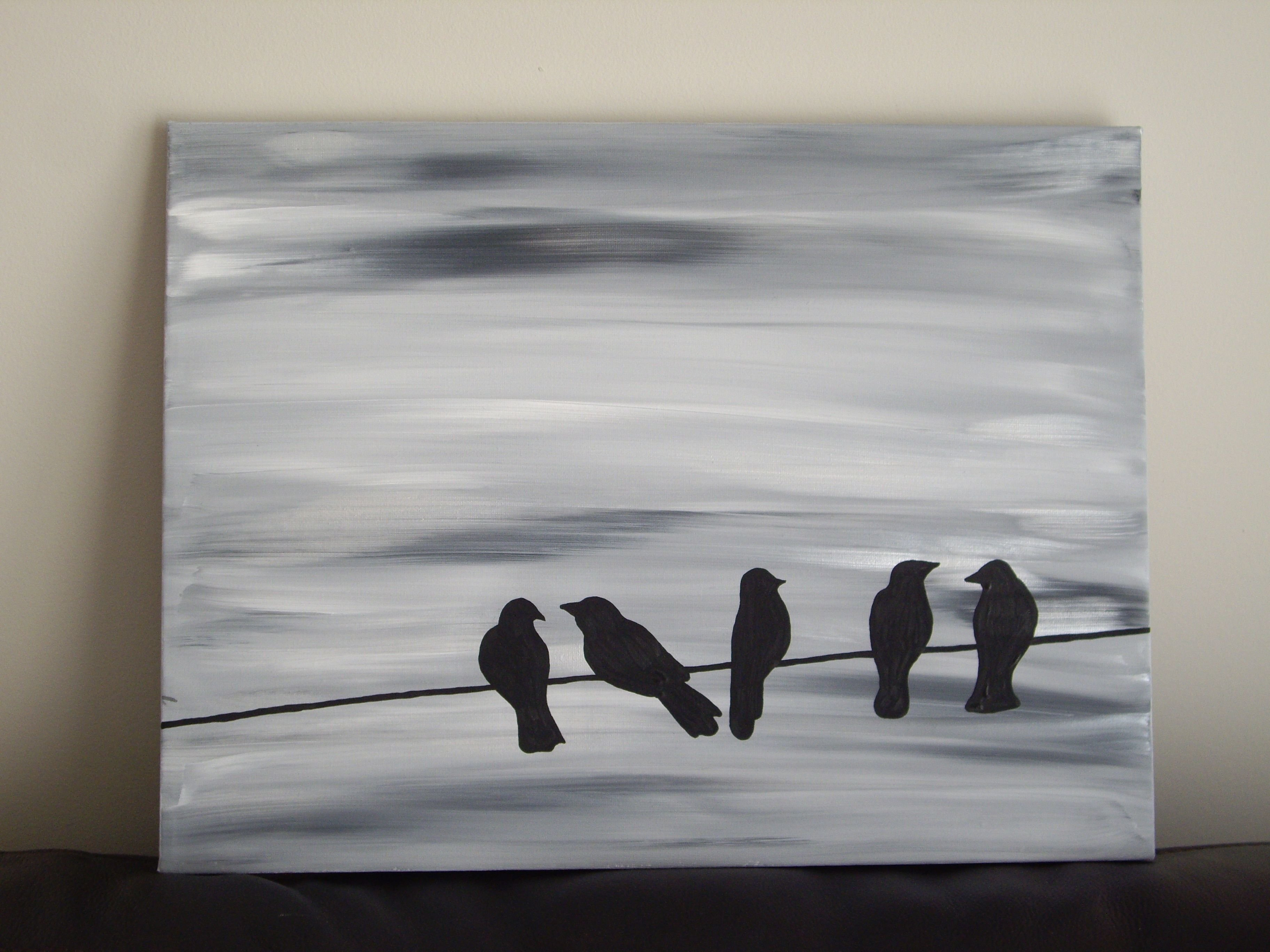 10 Ideal Black And White Painting Ideas bird silhouette acrylic painting on canvas grey black white and 2020
