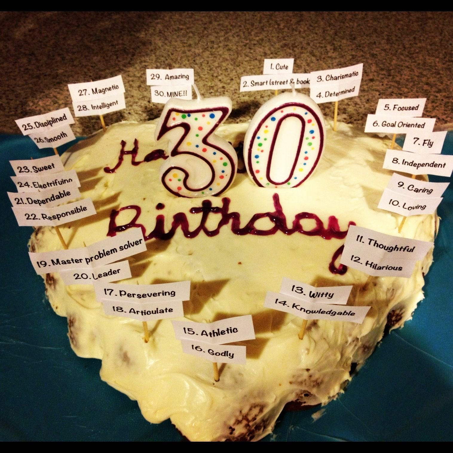 birthday cake for my fiancé for his 30th birthday.. added 30