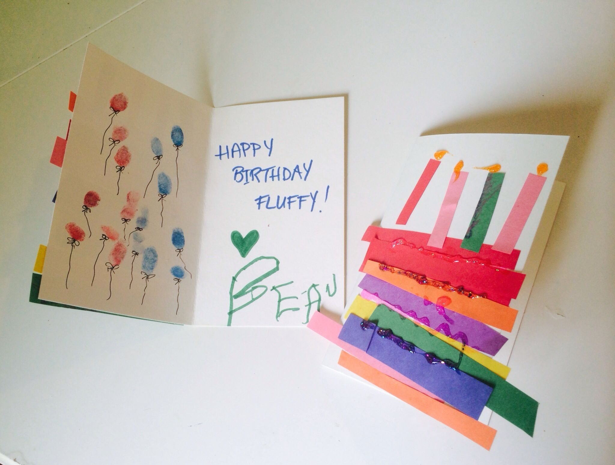 birthday cards madetoddlers. rainbow cake w/construction paper