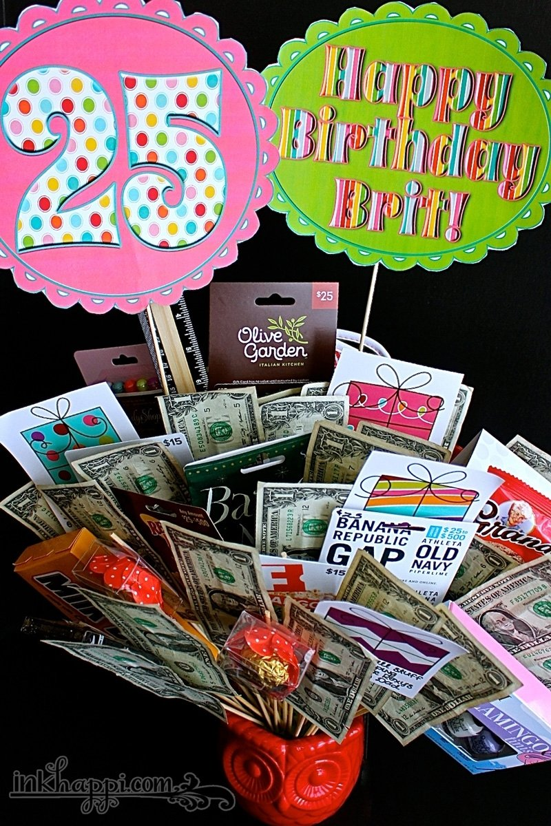 10 Wonderful 25Th Birthday Gift Ideas For Her birthday gift basket idea with free printables inkhappi 1 2020