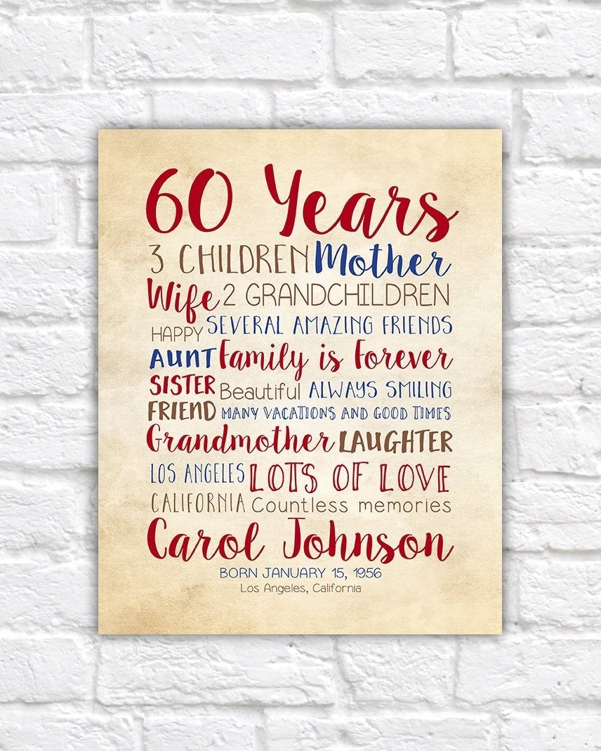 10 Ideal 60Th Birthday Gift Ideas For Mom 60th 60 Years
