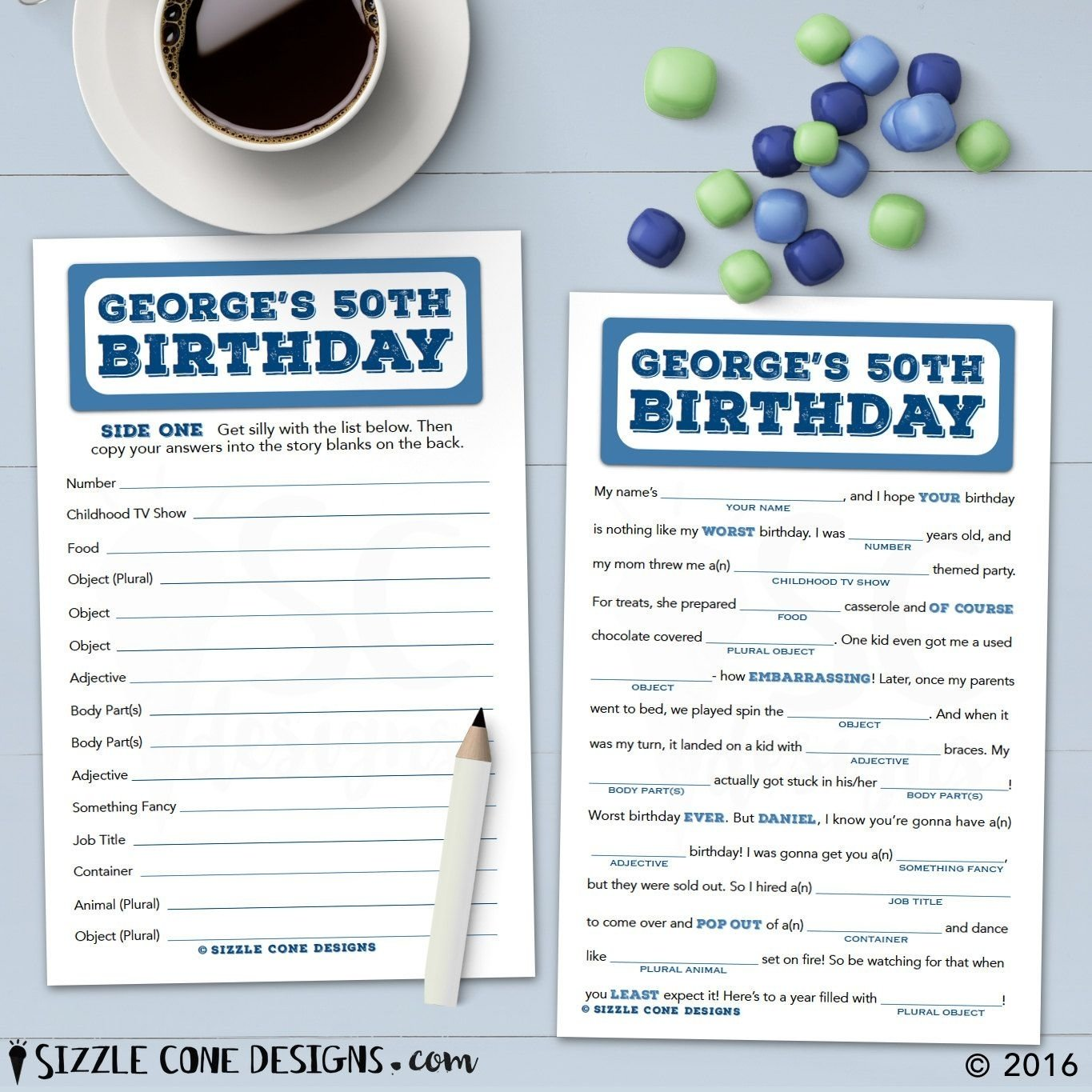 10 Fashionable 50Th Birthday Party Game Ideas Mad Lib For Adults Personalized Printable