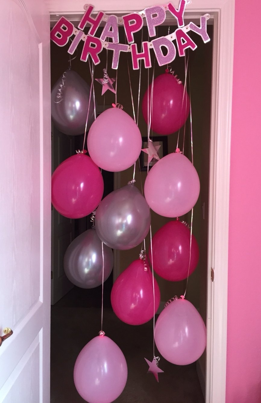 10 Fashionable Birthday Surprise Ideas For Girlfriend birthday morning surprise idea hanging balloons in door way and 1 2021