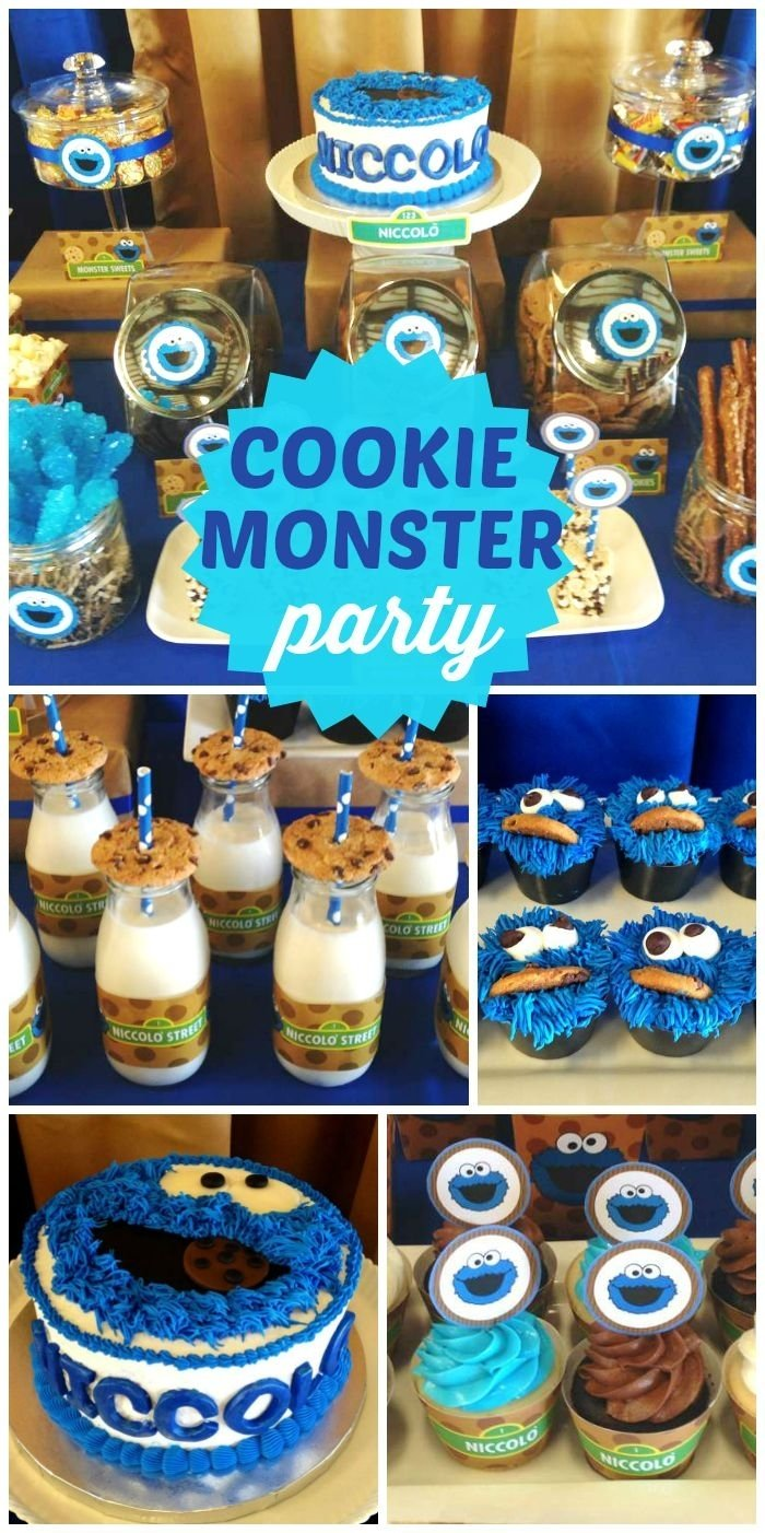 10 Fabulous First Birthday Party Ideas For Boys birthday niccolos 1st birthday party cookie monster dessert 7 2020