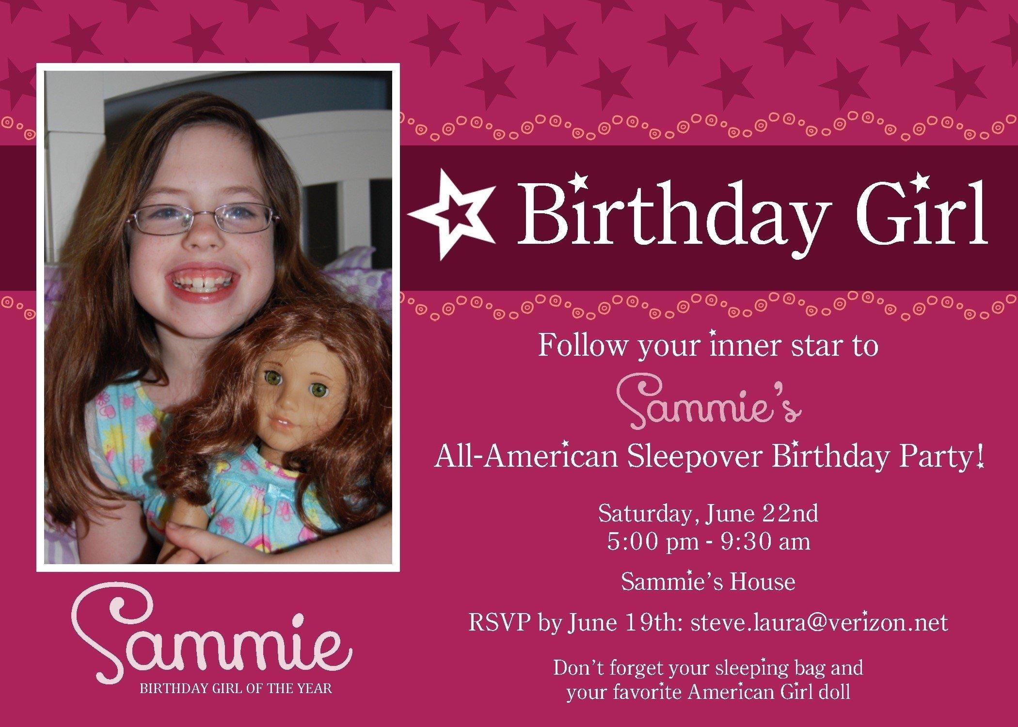 10 Great American Girl Doll Birthday Party Ideas birthday party invitations amusing american girl birthday 2020