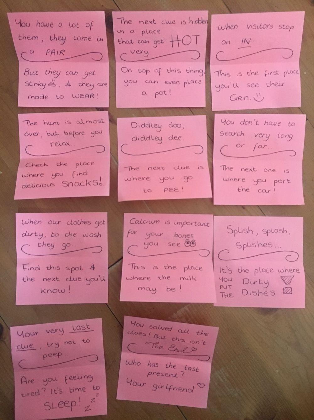 10 Attractive Scavenger Hunt Ideas For Boyfriend birthday treasure hunt for my boyfriends birthday some clues 2021
