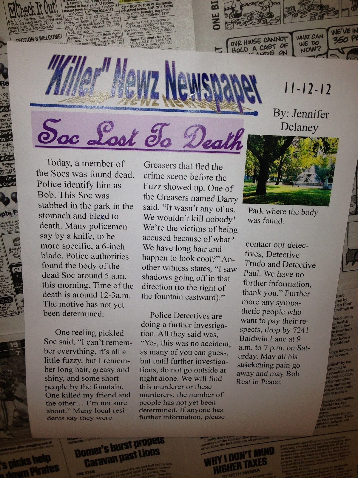 10 Attractive Middle School Newspaper Article Ideas bits and pieces of middle school the outsiders newspaper article 2020